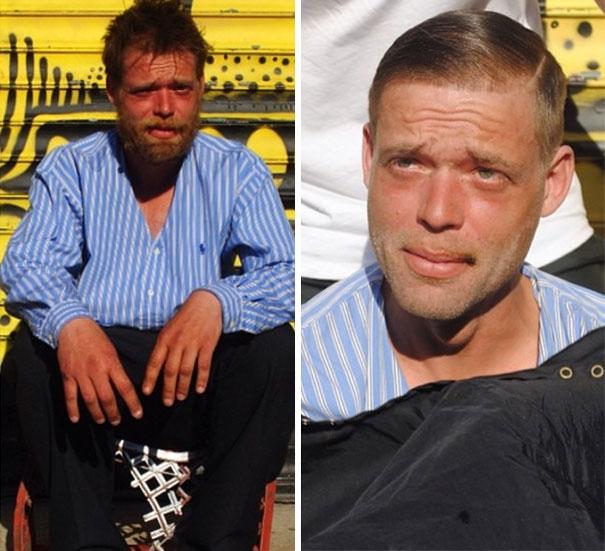 Hình ảnh nhà tạo mẫu tóc cắt cho người vô gia cư đầy ý nghĩa