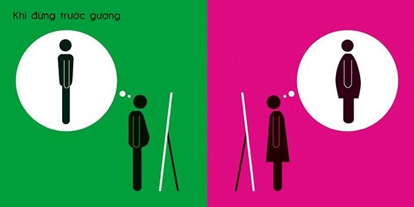 Khi đàn ông và phụ nữ đứng trước gương