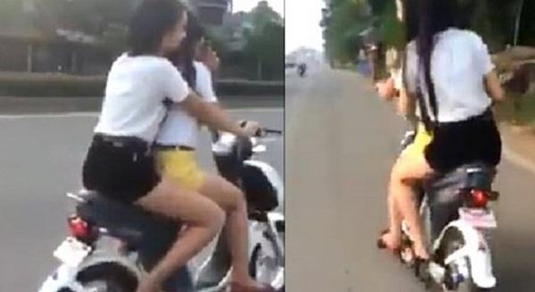 Hoảng hốt với clip 2 thiếu nữ lạng lách, đánh võng trên quốc lộ