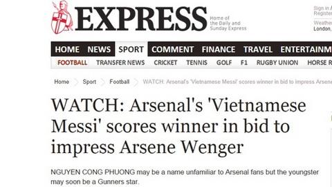 """Báo chí Anh: """"Công Phượng đủ sức chơi cho Arsenal"""""""