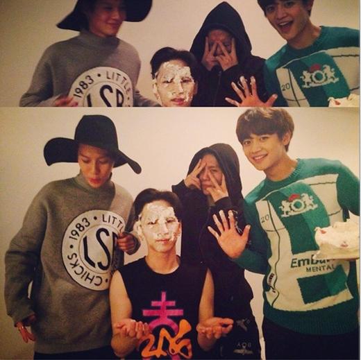 Nhân ngày sinh nhật, SHINee đã trây trét bánh kém lên mặt Key để mừng tuổi mới cho anh