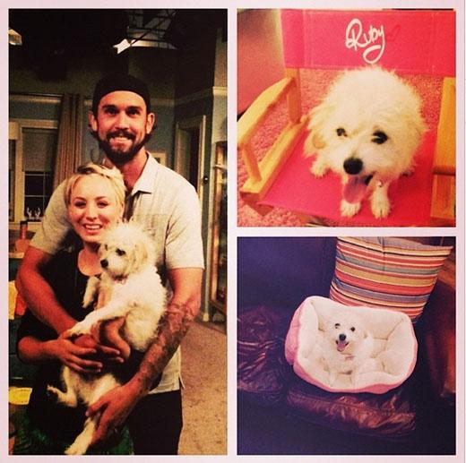 Kaley Cuoco được chồng và cún cưng đến thăm nơi làm việc