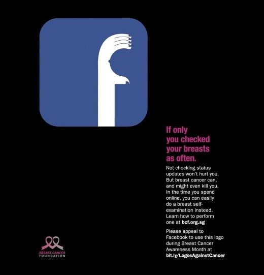 Giá mà bạn có thể kiểm tra ngực thường xuyên hơn. - mẫu quảng cáo dựa theo hình ảnh của các mạng xã hội được mọi người ưa chuộng sử dụng và check bảng tin hàng giờ (gồm Facebook, Twitter và Instagram)