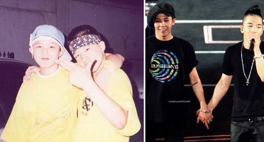 G-Dragon và Taeyang là cặp bài trùng nổi tiếng nhất Kpop. Không chỉ cùng là thành viên trong nhóm Big Bang mà hai anh chàng đã từng là bạn rất thân trong thời gian làm thực tập sinh. Cho đến bây giờ, G-Dragon và Taeyang khiến khiến fan thích thú mỗi lúc họ thể hiện tình cảm với nhau trên sân khấu hay là ngoài đời.