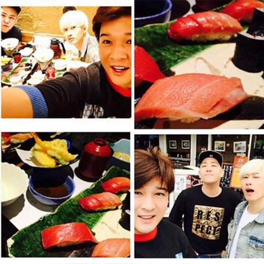 Shindong khoe hình Super Junior 'đại náo' quán ăn suhi tại Nhật