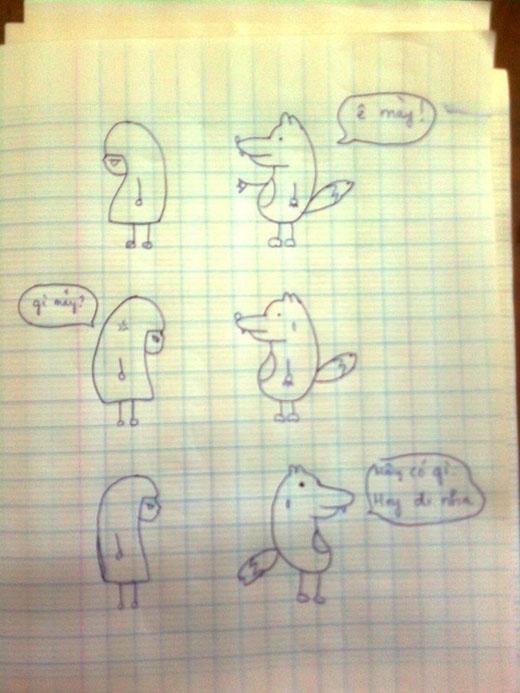 Bản vẽ tay của hai nhân vật Sói mặt đơ và Cô bitch quàng khăn đỏ được tác giả chia sẻ với độc giả YAN News