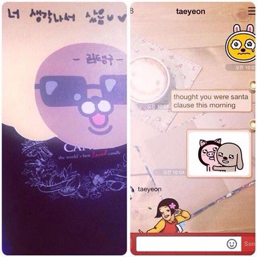 Tiffany khoe món quà của Taeyeon tặng với lời nhắn cực tình cảm: 'Mới sáng sớm mở mắt dậy, mình đã thấy một món quà nằm trên bàn. Cứ tưởng là ông già Noel nhưng theo mình đoán là Taengoo. Cậu luôn làm mình cảm thấy như là ngày nào cũng là giáng sinh vậy'.
