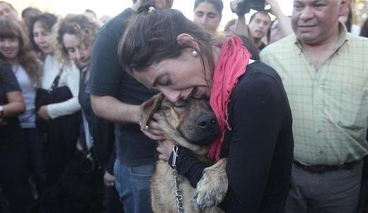 Người phụ nữ vừa tìm lại được chú chó cưng của mình sau trận lụt ở La Plata, Argentina
