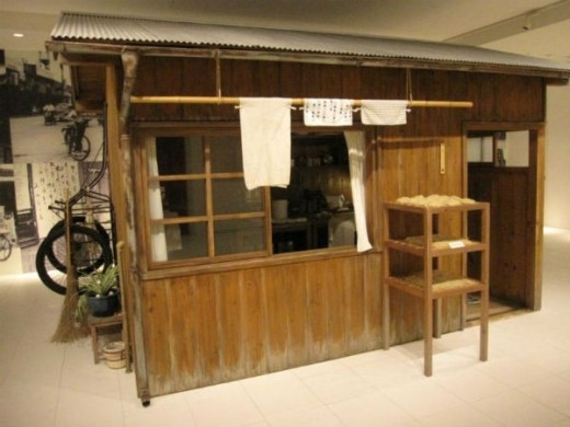 Một mô hình quán bán mì xưa của Nhật Bản.