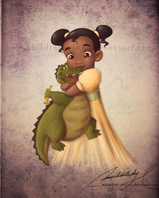 Đáng yêu hình ảnh trẻ con của các công chúa Disney