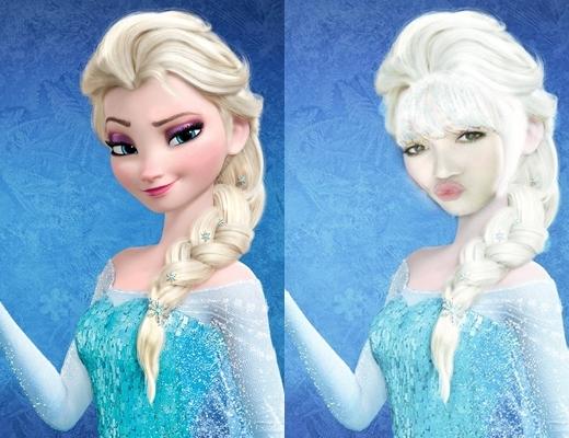 Nàng Chuối Sĩ Thanh hóa thân thành nàng công chúa tuyết Elsa với biểu cảm chu mỏ trông rất đáng yêu phải không nào?