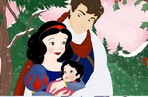 Hạnh phúc hình ảnh nhân vật Disney lập gia đình và có con