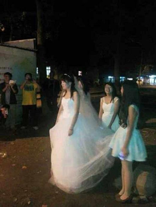 Lư Hoan rạng rỡ trong bộ váy cưới