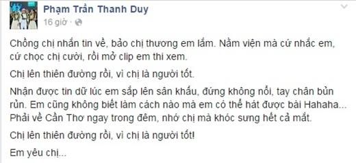 Thanh Duy Idol khóc sưng cả mắt khi biết hung tin.
