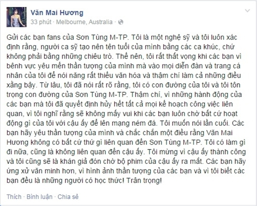 """Văn Mai Hương khẳng định: """"Tôi là một nghệ sỹ và tôi luôn xác định rằng, người ca sỹ tạo nên tên tuổi của mình bằng các ca khúc, chứ không phải bằng những chiêu trò."""""""