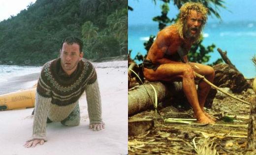 Tom Hanks đã giảm 24kg cho vai diễn một người đàn ông sống sót sau vụ tai nạn máy bay Chuck Noland.