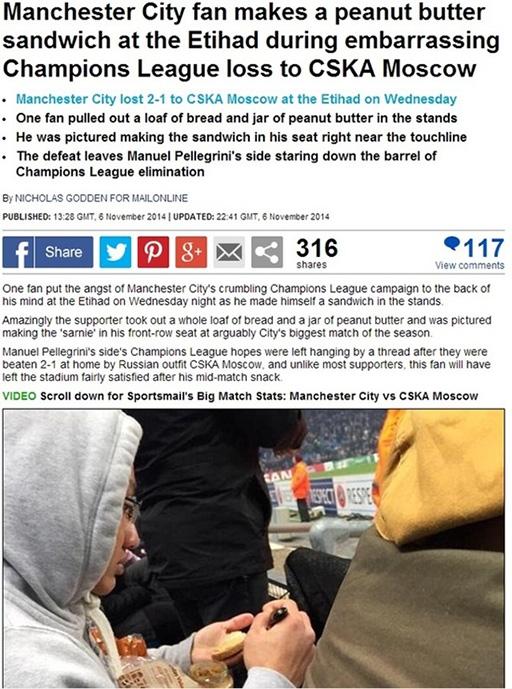 Tờ Daily Mail viết: Một CĐV đã tạm quẳng sự lo lắng về số phận Man City tại Champions League đi để tự làm cho mình chiếc bánh sandwich ngay trên khán đài