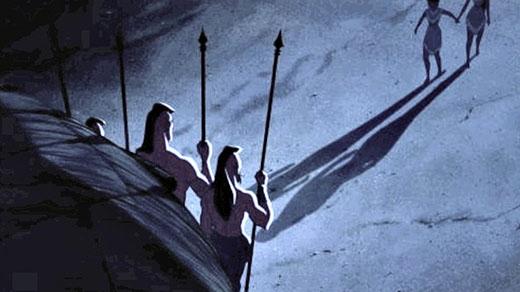 Pocahontas và Nakoma không hề ngại ngùng nắm nay nhau nhưng có vẻ những cái bóng của họ thì có đấy.