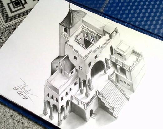 Không dừng lại ở đó, 9X còn có một bộ các tác phẩm tranh 3D khác. Các tác phẩm của Mạnh Thành đều thực hiện bằng bút chì màu và vẽ trong thời gian nhan chóng. Mình sáng tác theo cảm hứng, và vẽ trong thời gian ngắn nhất. Theo mình, khi vẽ không nên đi quá chi tiết, như thế sẽ giảm bớt độ phiêu của tác giả - Thành chia sẻ.