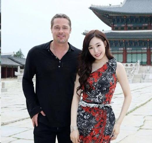 Tiffany đã có cơ hội giao lưu với Brad Pitt trong một chương trình du lịch tại Hàn Quốc