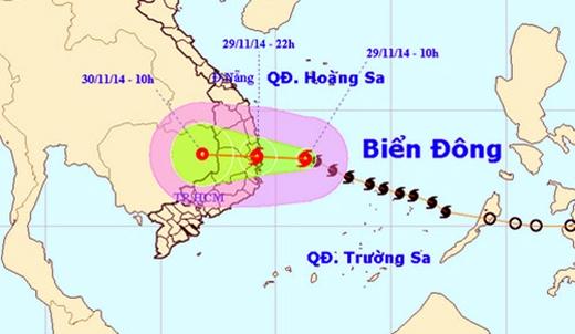 Tối nay, bão số 4 sẽ đổ bộ vào vùng biển các tỉnh Bình Định - Khánh Hòa.