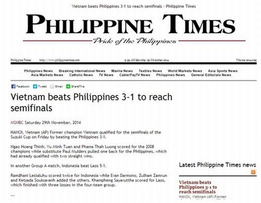 Tờ Philippines Times đưa thông tin ngắn gọn về trận thua của đội nhà trước ĐT Việt Nam