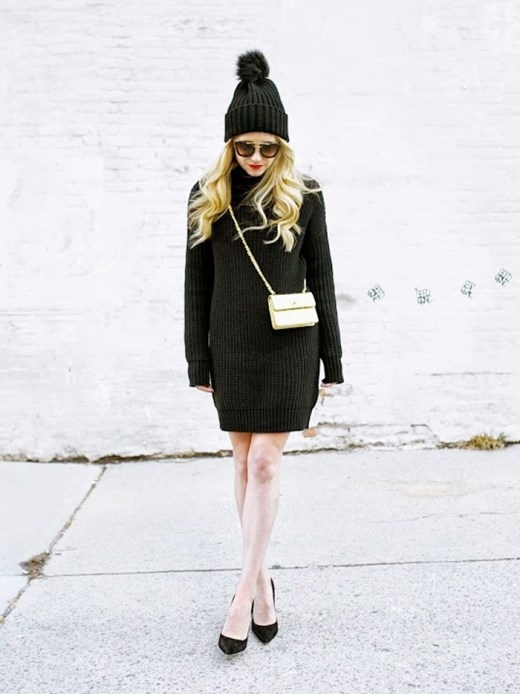Vẻ ngoài cổ điển với váy len, mũ len và đôi giày cao gót cùng tông màu