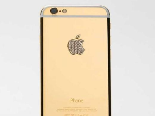 Chiếc iPhone 6 bản Lux của Brikk này được mạ vàng 24K, logo táo khuyết của máy đính kim cương. Giá của nó là 8.995 USD
