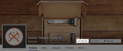 Minh họa về nút mời tạo tài khoản thành viên câu lạc bộ Dollar Shave trên trang fan page của họ - Ảnh: Facebook
