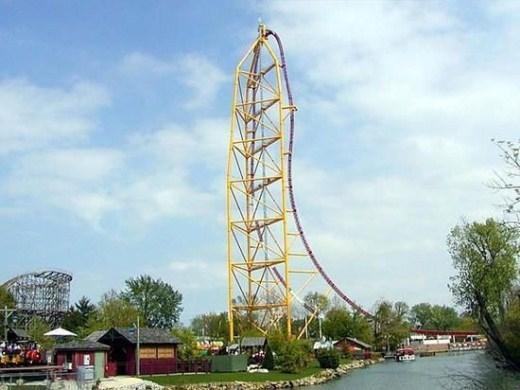 3. Top Thrill Dragster - Công viên Cedar Point, bang Ohio, Mỹ: Tốc độ nhanh nhất: 193km/h, điểm cao nhất: 128m. Sau 4 giây, tàu đạt tốc độ cao nhất, rồi xuống dốc một mạch, và quay ngoắt 270 độ. Chơi trong 30 giây.