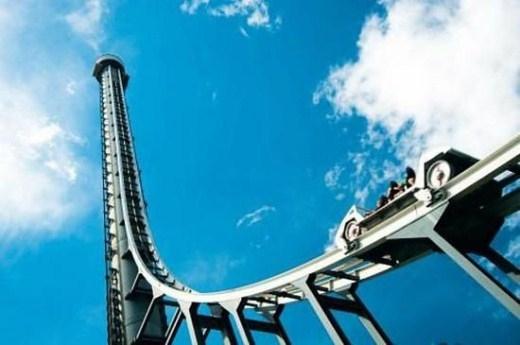 5. Tower of Terror - Công viên Dream World, Queensland, Úc. Tốc độ nhanh nhất: 161km/h, điểm cao nhất: 129km/h. Sau 7 giây, tàu đạt tốc độ cao nhất, rồi một mạch vụt lên độ cao 129m - tương đương tầng 38 của một tòa nhà cao tầng - tới đây, đón chờ du khách là cú ngoặt 90 độ, và sau đó là 6,5 giây mất trọng lượng, cuối cùng là đâm dốc.