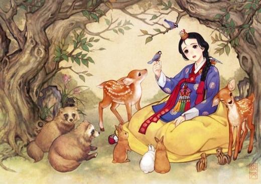 Bạch Tuyết lạ mà quen với áo truyền thống hanbok xanh đỏ vàng đặc trưng của xứ Hàn