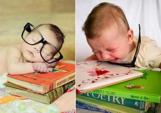Tại sao? Con không muốn đeo kính và nhắm mắt ngủ. Con muốn đi chơi!