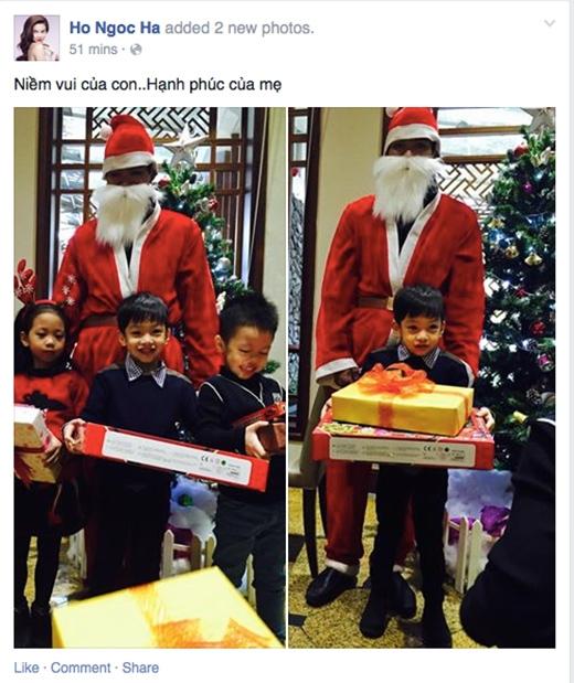 Hồ Ngọc Hà khoe ảnh Subeo được ông già Noel tặng quà