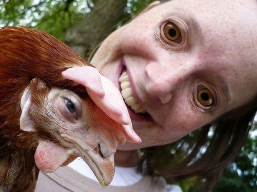Chỉ đơn giản là đổi cặp mắt của con gà với cô gái nhưng cư dân mạng này đã tạo được bất ảnh khiến nhiều người hết hồn