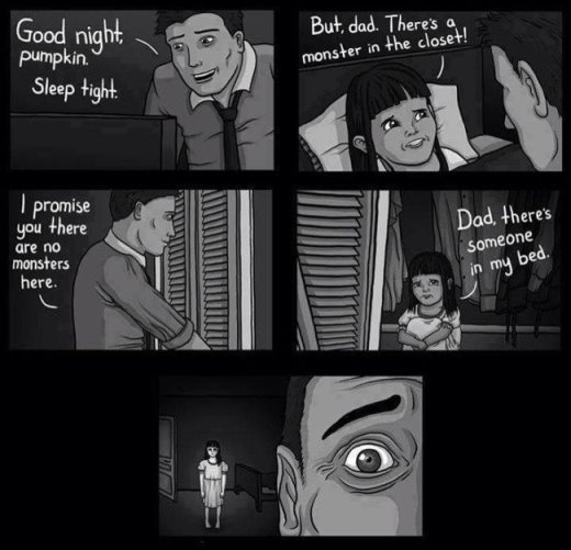 Bố: Chúc con ngủ ngon! Bé gái: Nhưng con sợ có con quái vật núp trong tủ. Bố: Làm gì có con quái vật nào. Một bé gái khác: Bố ơi, có ai đang nằm trên giường của con