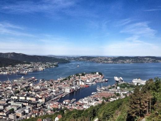"""Đường sắt leo núi Floibanen và rừng Yêu Tinh, Bergen: Nếu bạn đang ở Bergen và muốn chiêm ngưỡng toàn cảnh thành phố, hãy tới rừng Troll. Bạn sẽ mất 10 phút đi hết đường sắt leo núi Floibanen để lên tới đỉnh. Ngay cạnh ga là một """"rừng Yêu Tinh"""" nổi tiếng của Na Uy."""