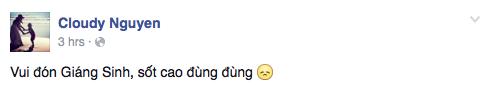 Trong khi đó, MC Thanh Vân khiến người hâm mộ lo lắng khi cho biết mình đang sốt cao vào đúng đêm Noel.