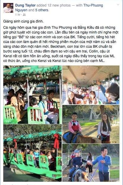 Theo chia sẻ của ông xa Thu Phương, năm nay cả gia đình cô cùng vui vẻ đón Giáng Sinh với gia đình Bằng Kiều.