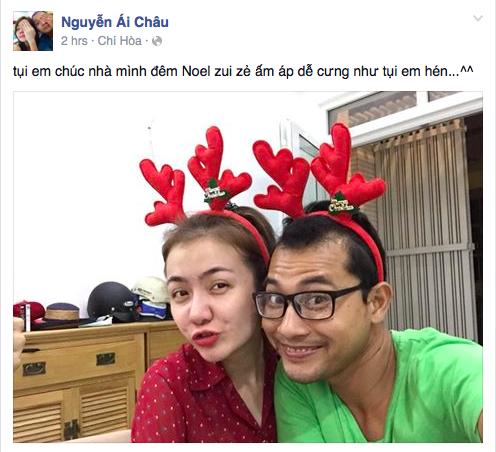 Cặp đôi trai tài gái sắc Huỳnh Đông - Ái Châu đeo bờm tuần lộc tạo dáng rất đáng yêu.