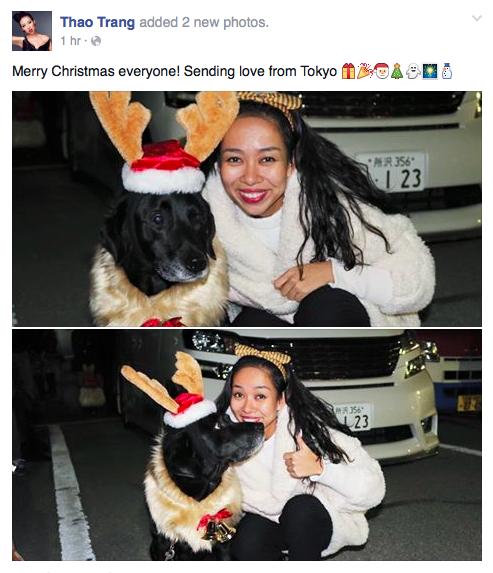 Mặc dù đang ở Tokyo nhưng Thảo Trang vẫn tưng bừng đón Giáng Sinh .