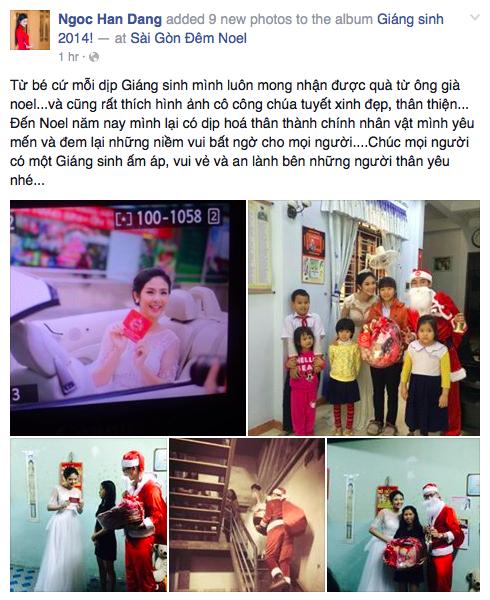 Hoa hậu Ngọc Hân tiếp tục gây thiện cảm cho mọi người khi đi làm từ thiện trong ngày Noel.