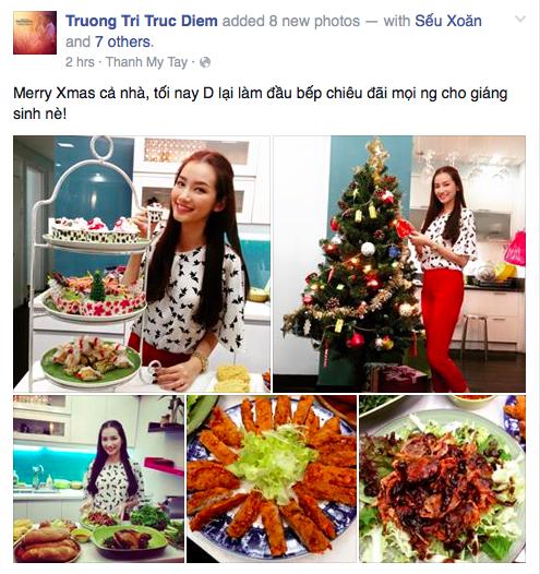 Hoa hậu Trúc Diễm khoe tài nghệ nấu ăn chiêu đãi mọi người.