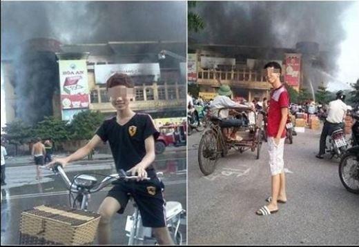 Hai chàng trai này từng bị ném đá vì đứng tạo dáng trước một đám cháy tạiTrung tâm thương mại Hải Dương ngày15/9. Bức ảnh này cũng từng nhận được rất nhiều tranh cãi khi có người cho rằng đây chỉ là ảnh ghép nhằm dìm hàng hai chàng trai trong ảnh.