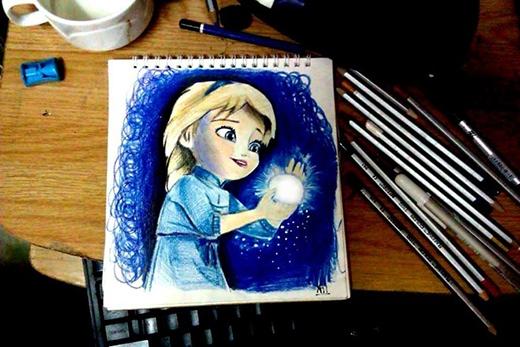 Hình ảnh công chúa trong Frozen với quả cầu được thể hiện sống động trên trang giấy. Ân kể, ban đầu cũng bị gia đình ngăn cản nhưng sau này khi anh thể hiện được khả năng của mình, gia đình đã đồng ý và tìm lớp học vẽ cho anh.