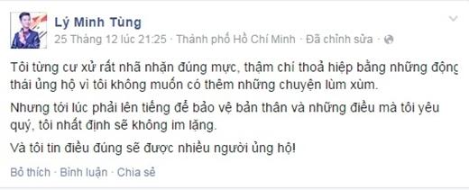 Dòng chia sẻ của anh Lý Minh Tùng cách đây vài hôm. - Tin sao Viet - Tin tuc sao Viet - Scandal sao Viet - Tin tuc cua Sao - Tin cua Sao