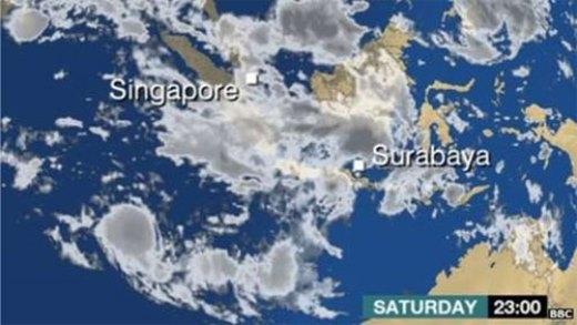 Ảnh vệ tinh chụp thời tiết trên không phận Indonesia thời điểm máy bay mất tích. Ảnh: BBC