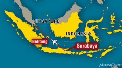 Vị trí ước lượng nơi máy bay AirAsia mất tích. Đồ hoạ: MediaCorp