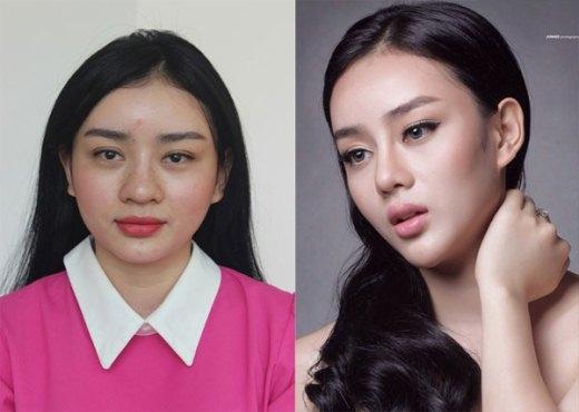 Khi chưa nhờ tới dao khéo, khuôn mặt của Angela Minh Châu khá tròn với chiếc mũi to, mắt bé (trái). Vì muốn có được diện mạo gợi cảm như Phạm Băng Băng, cô đã quyết tâm đầu tư cho thẩm mỹ nhằm thay đổi hoàn toàn gương mặt.