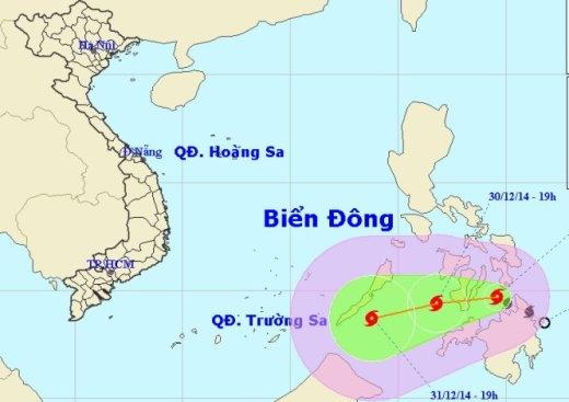 Đường đi tâm bão - Nguồn: Trung tâm dự báo khí tượng thủy văn Trung ương